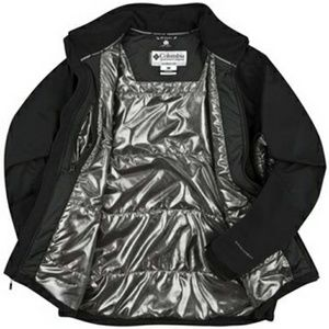 Black Columbia Omni-tech coat w/ disco ball liner